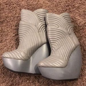UNITED NUDE 'TULIP' SKYHIGH WEDGE QUILTED LEATHER